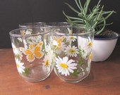 Libbey Juice Glasses Vintage Daisy Drinking Glasses Set of 4