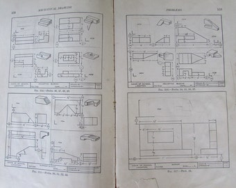 Mechanical Drawing for High School Vintage Textbook Paper Ephemera