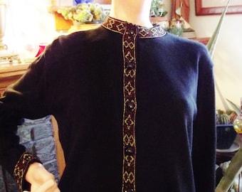 Vintage Sweater, Black Cardigan, Gold and Red Metallic Trim, Deco Geometric Trim, Size Petite Large, Retro Cardigan Sweater