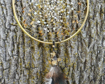 Ethiopian Opal and Cirtrine Crystal Hand-Woven 5 Inch Bohemian tribal Gold Dream Catcher by The Emerald Lotus