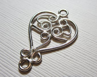 Sterling Silver Connector Link Heart 21mm x 32mm- 1 PIECE