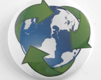 """Recycle - Earth Day Environmental 2.25"""" Pinback Button"""