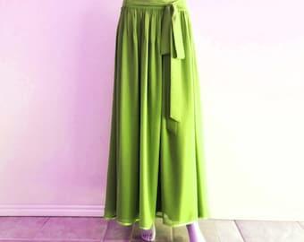 Avocado Bridesmaid Skirt. Maxi Skirt. Avocado Evening Chiffon Skirt. Floor Length Skirt. Avocado Long Skirt.