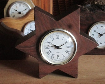 Star Clock-Star of David Clock-Star Mantle Clock- Recycled Wood Mantlerecycled wood clockClock-Dark Wood Clock-Handmade Clock-Small Clock-