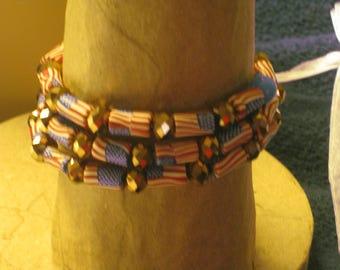 American Flag Bead Multi Strand Wired Bracelet