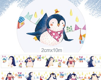 1 Roll of Limited Edition Washi Tape: Funny Penguin