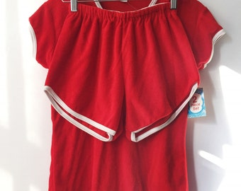 Terry Cloth Ringer Tee Shorts Set Size Large Deadstock
