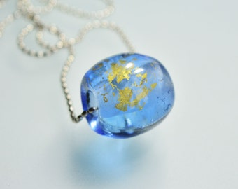 Lampwork beads, necklace - Focal bead, glass bead, Artist bead in blue with gold leaf - Kokopella design