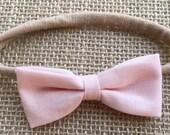 pale pink bow headband, baby headband, nylon headband
