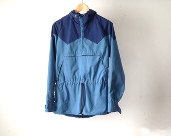 80s BLUE color block rain parka northwest oxford flannel lined PARKA rain jacket coat