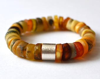 Amber and Silver Bracelet, Baltic Amber Bracelet, Organic Handmade, Natural Bracelet, Nature Inspired Amber Jewelry