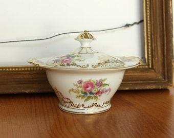 Vintage Noritake Kyngold Sugar Bowl - Sugar Bowl with Gold Rim & Pink Roses - Japanese Dinner Wear - Japan 317  NYN Gold Vintage