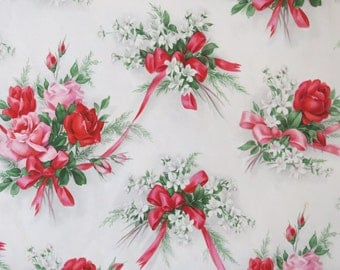 Vintage Hallmark All-Occasion Wrapping Paper - Gift Wrap - Pretty ROSE Bouquets - with Coordinating Gift Card - 1950s 1960s