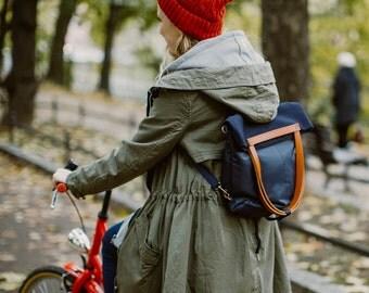 CHAMELEON Blue bag / handbag and backpack in one bag / crossbody bag / backpack / tote bag / natural leather handles and removable strap