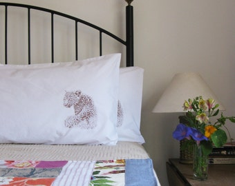 Pillow cases, Set of Two, hand printed, leopards