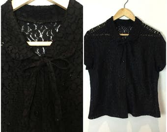 Vintage 1940s Top - 40s Black Lace Blouse - Crochet Lace - Peter Pan collar - Wartime Era - UK 14-16 / US 10-12 / EU 42-44 -  Medium Large -