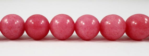 "10mm Round Jade Beads, Mauve Pink Jade Beads, Candy Jade Gemstone Beads, Dyed Mountain Jade Stone Beads on a 7 1/4"" Strand with 19 Beads"