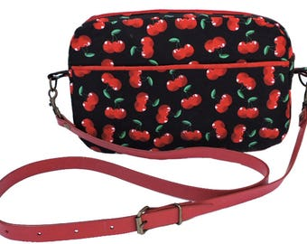Retro cherries Cross-body bag. Messenger bag. Multi pocket purse. Shoulder bag in cherry print