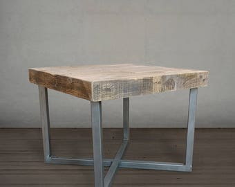 Reclaimed Wood Square End Table, Wood and Metal, Crossed Legs