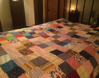 vintage Quilt Topper multi colored bedding Quilt Top