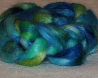 Fine Quality Mohair Roving with 10% Wool Top Green Turquoise Cobalt 4.15oz