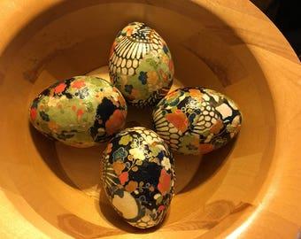 Asian Earth Tones Chiyogami/Yuzen Paper Decoupage Paper Mache Easter Eggs: Set of Four