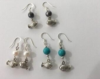 Silver Pearl Fish Earrings
