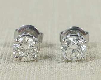 Sophisticated Sparkly 14K White Gold 1.30ctw Natural Round Untreated Diamond Stud Everyday Classic Simple Post Earrings FREE SHIPPING!