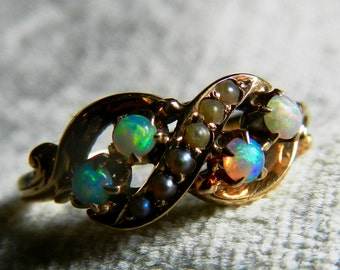 Opal Engagement Ring Australian Opal Ring Antique Opal Engagement Seed Pearl Ring 1800s Victorian Ring Art Nouveau October Infinity Ring