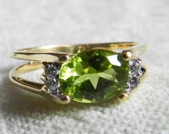 Peridot Ring Alternative Engagement Ring 1.35 Ct Peridot Ring 14K Unique Engagement August Birthday Gift Ring Peridot Diamond Ring