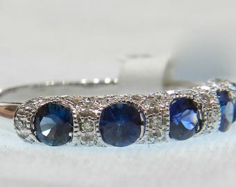 Sapphire Ring Sapphire Diamond Art Deco Wedding Band 1 Ct Sapphire Diamond 14K White Gold Ring Wedding Band Sapphire Stacking Ring