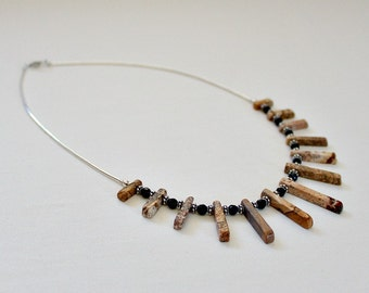 Mothers Day,From Husband,40th Birthday Gift,For Her,Picture Jasper,Black Onyx,Sterling Silver,Necklace,50th Birthday Gift For Woman,Unique