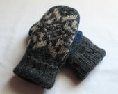 Children's Wool Mittens - Wool Felted Mittens - Black Sweater Mittens - Fleece Lined Mittens - Size Small Child (age 3/6 years) - Unisex