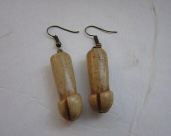 Buffalo Bone Carved Penis Earrings Dangle Ear wires Jewelry Tribal Boho 2