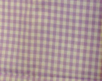 """Vintage Fabric Light Purple and White Check Cotton Blend 35 """" by 126 """" Craft Tb3"""