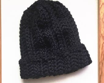 THE CRISPIN // Crocheted Slouchy Hat // Black and Ribbed // Accessories // Handmade Knitwear