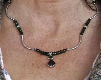 Russian Diopside Sterling Silver Opal and Rhodolite Garnet Necklace with Boulder Opal and Russian Diopside Pendent