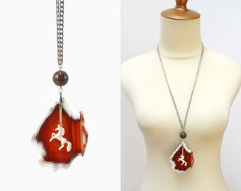 Large Red Brown Agate Stone Slice Necklace with White Horse Charm and Jasper Ball Stone