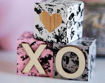 Textured Painted Wooden Blocks XOXO - Nursery Decor - Playing Blocks - Children's Blocks - Baby Blocks