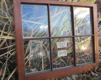 28 x 24 Vintage Window sash old 6 pane  frame from 1939 Arts& Crafts
