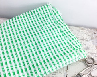 Vintage Green and White Gingham Fabric Remnants