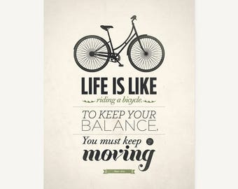 Art quote print, Albert Einstein quote, Life is like riding a bicycle, Inspirational art, Quote prints, Life quotes, Bicycle art