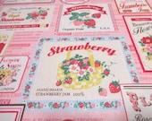 Japanese Fabric YUWA Retro Strawberry Label Pink Fat Quarter