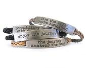Inspirational Bracelet - Leather Bracelet - Quote Bracelet - Leather Jewelry - Braided Leather Bracelet - Boho Bracelet - UL1219B