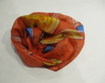 Hand-painted natural silk scarf wiht modern geometric pattern, red, yellow. blue,180 x 50 cm.
