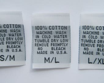 250 pcs White Woven Clothing Labels, Care Label - 100% COTTON - 2T, 3T, 4T