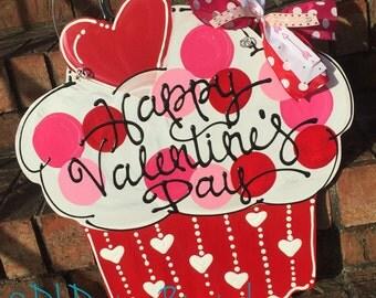 SALE Valentine's Day cupcake Door Hanger