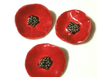 Poppy Brooch Pin, Red Flower, In Flanders Fields