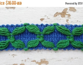 ON SALE Vintage, Geometric, Trim, Edging, Blue and Green, Edging, 100% Cotton, 9 Yards, 1970's