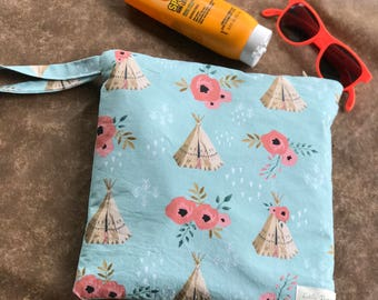 Teepee Print Wet bag-Swim Bag- Waterproof Swim Bag